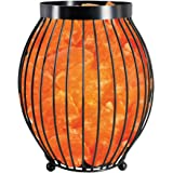 Himalayan Glow 1345 Ovel Style Pink Salt Basket Lamps , (9 lbs) .ETL Certified Pure Himalayan Salt Basket Night Lamp with Salt Chunks, Bulb and Dimmable Switch Dimmer Control.