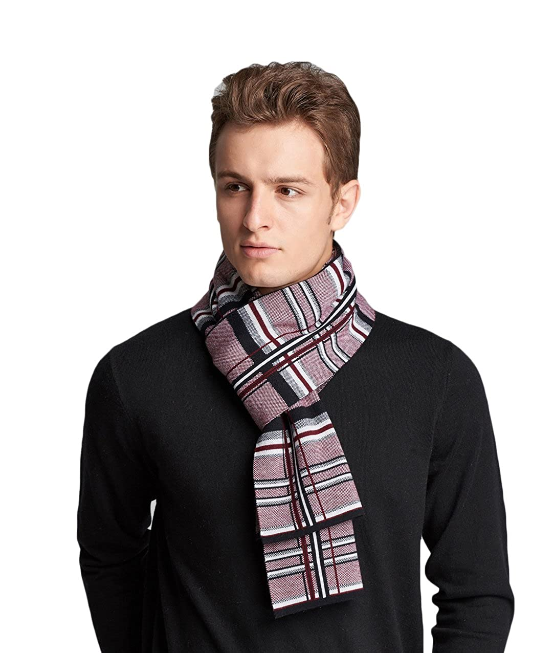 RIONA Winter Classical Cashmere Feel Warm Plaid Stripe Australian Wool Knitted Scarf with Gift Box RIW8048Black