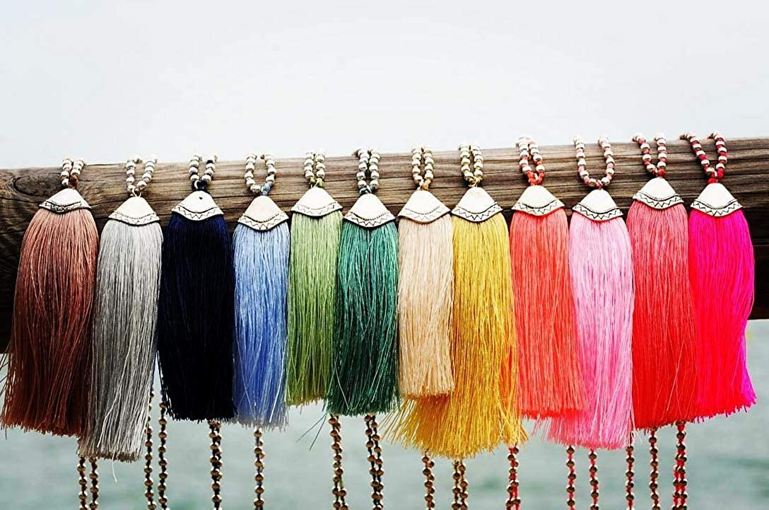 KELITCH Silver Plated Round Beaded Necklaces Handmade Color Tassel Long Pendants Necklace Fashion 32
