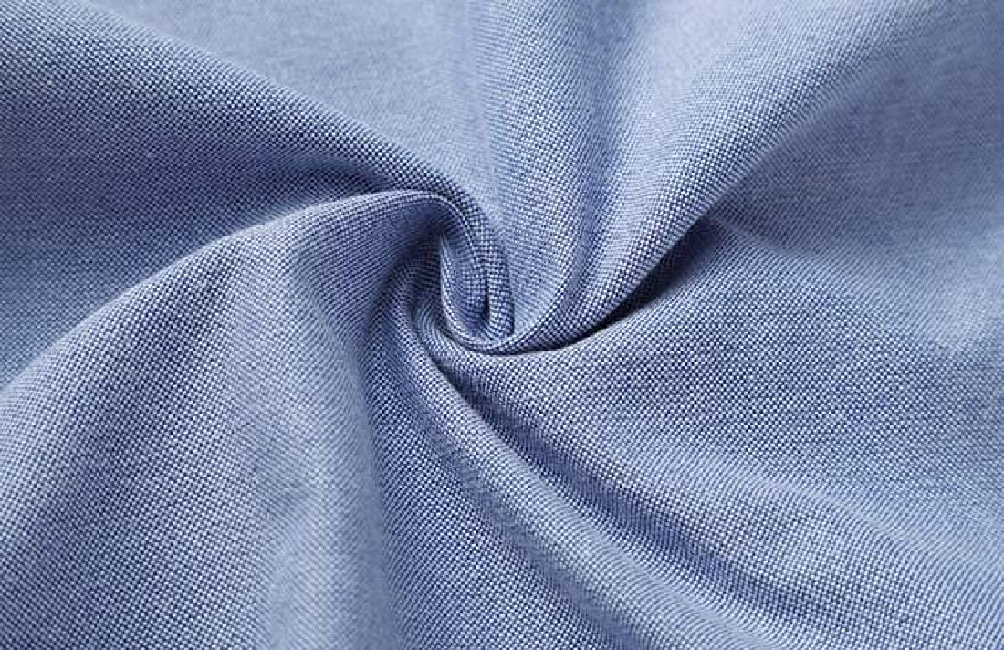 KLJR Men Solid Color Slim Long Sleeve Casual Business Stand Collar Dress Oxford Shirt