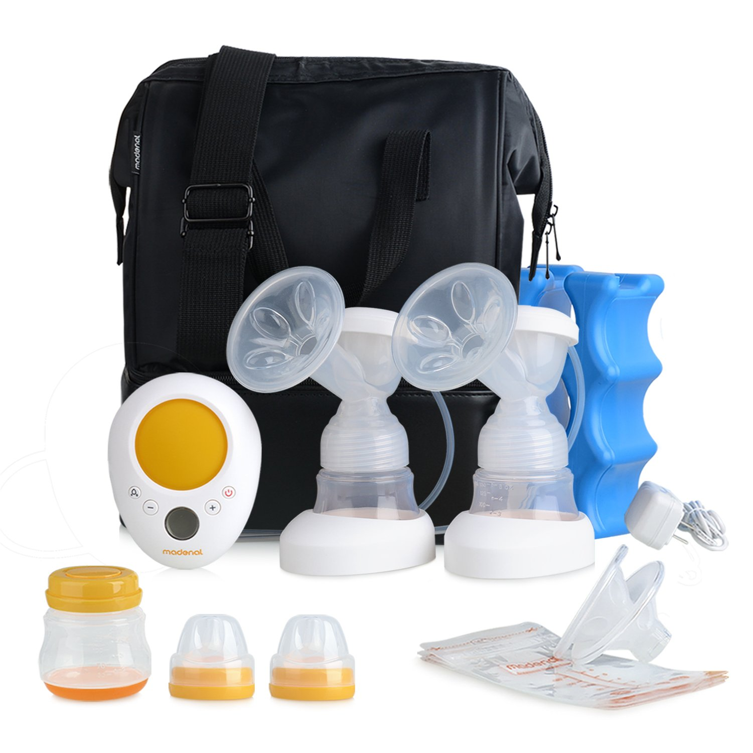 MADENAL Double Electric Breast Pump Travel Set, Ice Pack, Breastmilk Storage Bags, Super Quiet, Effective and Comfortable with On the Go Cooler Bag by MADENAL (Image #1)