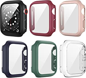 6 Pack Case for Apple Watch 44mm Series 6 5 4 SE with Tempered Glass Screen Protector, Haojavo Dustproof Metal Mesh Hard Ultra-Thin Scratch Resistant Protective Cover for iWatch Accessories