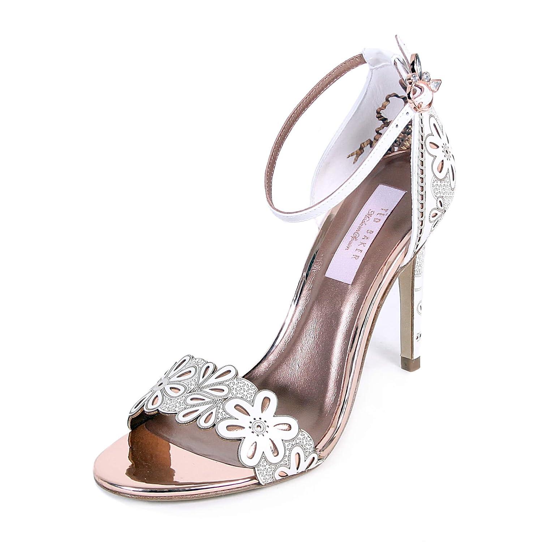 28dd5c18c3757 Ted Baker Women's Cimaa Leather Laser Cut Floral Heel White/Rose ...