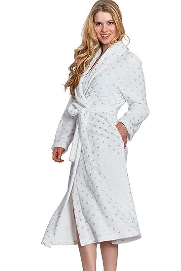Cozy   Curious Women s Long Small Dot Foil Print Royal Plush Robe (Blue 8c6fd62c0