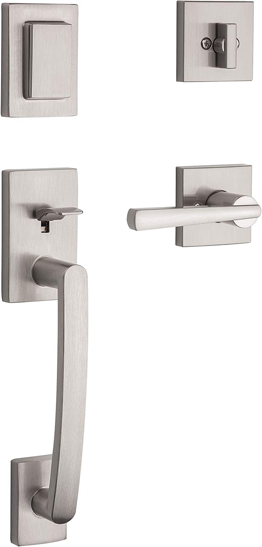 Baldwin Spyglass Keyed Entry Lever for Home or Office Door Satin Nickel SmartKey