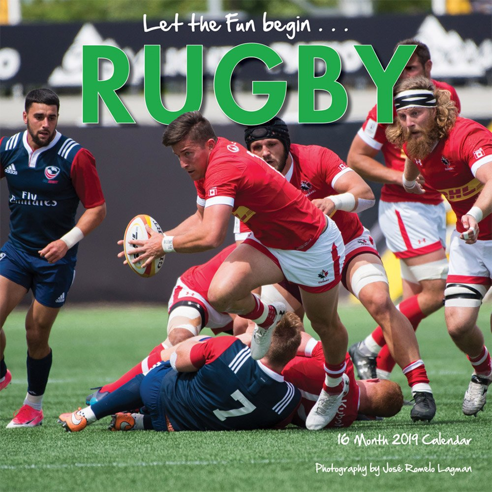 Rugby 2019 12 x 12 Inch Monthly Square Wall Calendar by Wyman, Sport