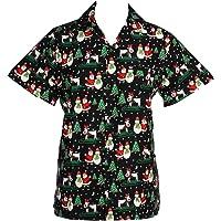 KIKLO Mens Christmas Santa Xmas Hawaiian Shirt Hawaii Gift HIM Party Holiday S to XXL