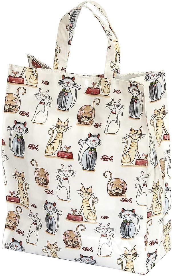 Bolsa de la Compra, Reutilizables con Diseño Bonito Gato, 40 cm x 32 cm x 13 cm, Regalo para las Mujeres y los Amantes de los Gatos