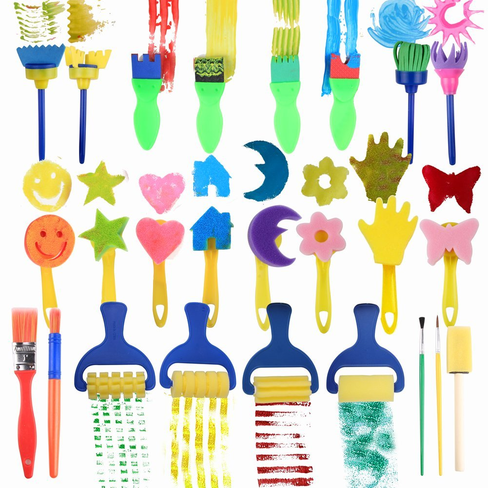 25 Pieces Kids Sponge Painting Brushes for Early Learning Mini Flower Sponge Brushes Drawing tools (multicolor) Unknown