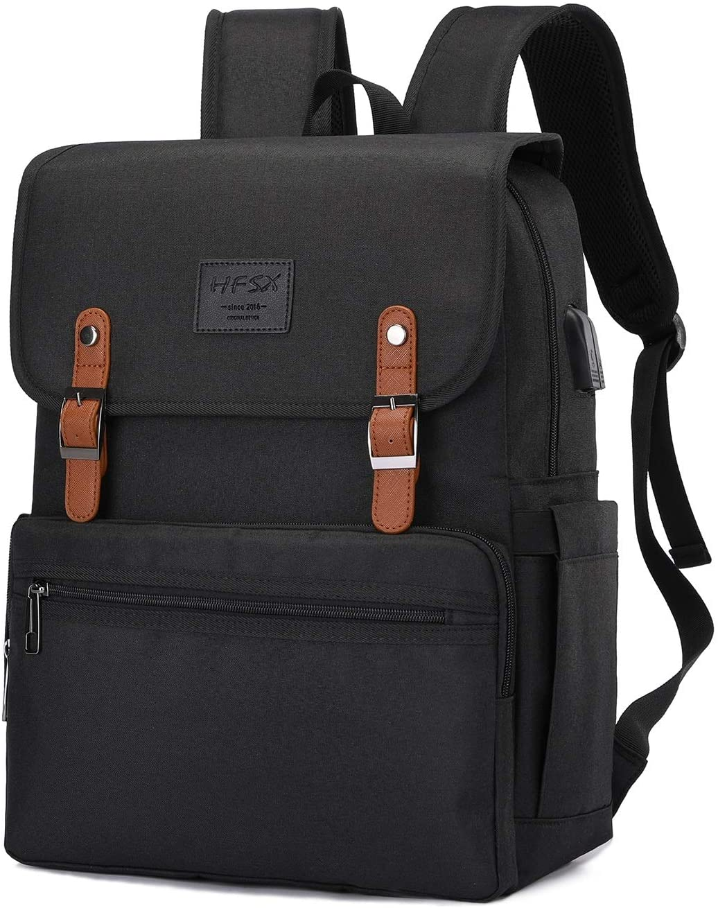 Anti Theft Laptop Backpack Men Women Vintage Backpack Bookbag School College Backpacks Stylish Water Resistant Backpack with USB Port Fashion Black Fits 15.6 Inch Laptop and Notebook