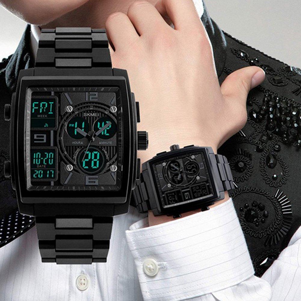 Delleu - Reloj de Cuarzo para Hombre con cronómetro de 3 Zonas ...