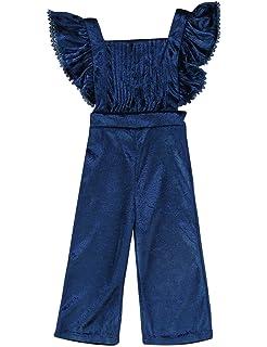 3ccbe32970dc Pudcoco Baby Girls  Pleated Ruffle Velvet Overalls Toddler Bodysuit Kids  Soft Flare Pants Jumpsuit