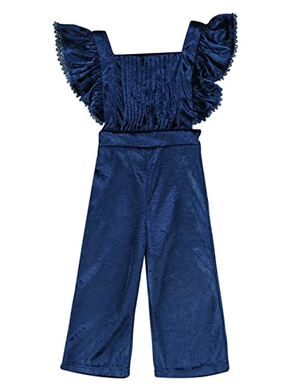 91fbaaa778b4c Pudcoco Baby Girls' Pleated Ruffle Velvet Overalls Toddler Bodysuit Kids  Soft Flare Pants Jumpsuit