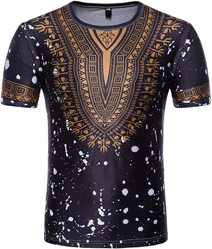Paymenow Men Tee Tops Mens Casual African Print Short Sleeve T-Shirt Henley Pullover Blouse