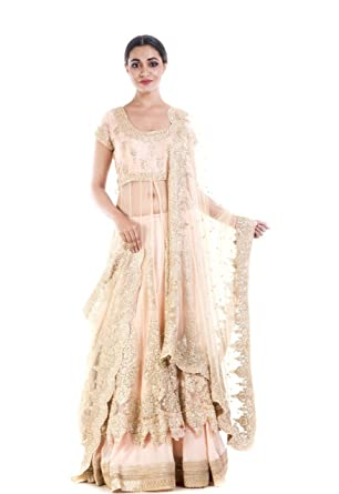 b66c77640f Amazon.com: Anju Agarwal Golden Beige Embroidery Long Jacket Lehenga Set:  Clothing
