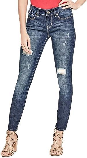 GUESS Factory Women's Sienna Curvy Skinny Jeans in Dark Destroy Wash
