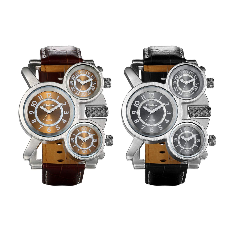 JewelryWe Grande Reloj Militar Deportivo 3 Zonas Horario Reloj de Pulsera Cuero, Reloj Cuarzo Frikis Para Hombre, Reloj de Piloto Viajero de Estilo Retro ...