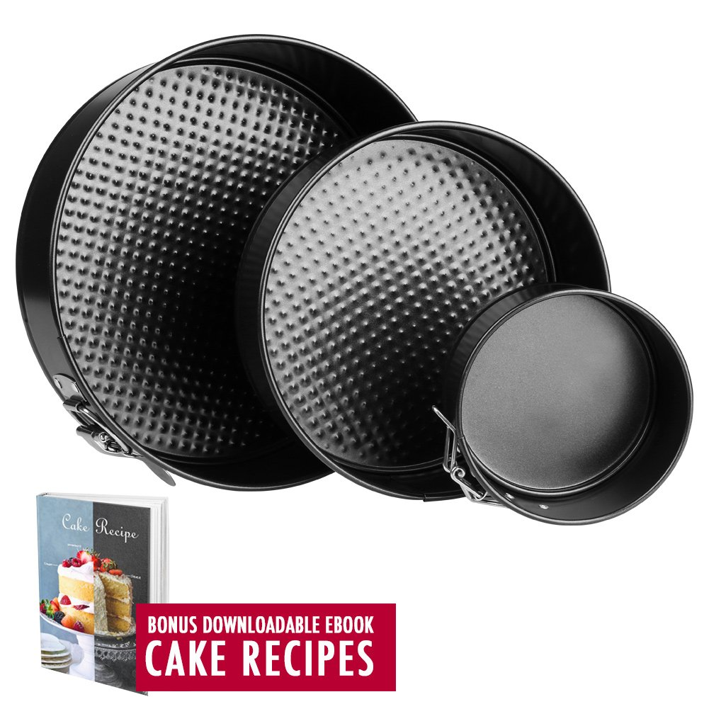 Springform Pan Baking Pans - Set of 3 Pcs 4'' / 7''/ 9'' Non-Stick Leakproof Cake Pans - Heat Resistant Carbon Steel Cheesecake Pan with Removable Bottom and Quick-Release, Cake Recipe Ebook Included