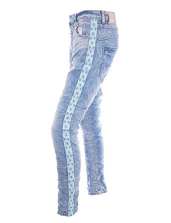 2465ab8a2019 Damen Jeans mit Streifen Sternen und Knopfleiste Hose Denim Stretch ...