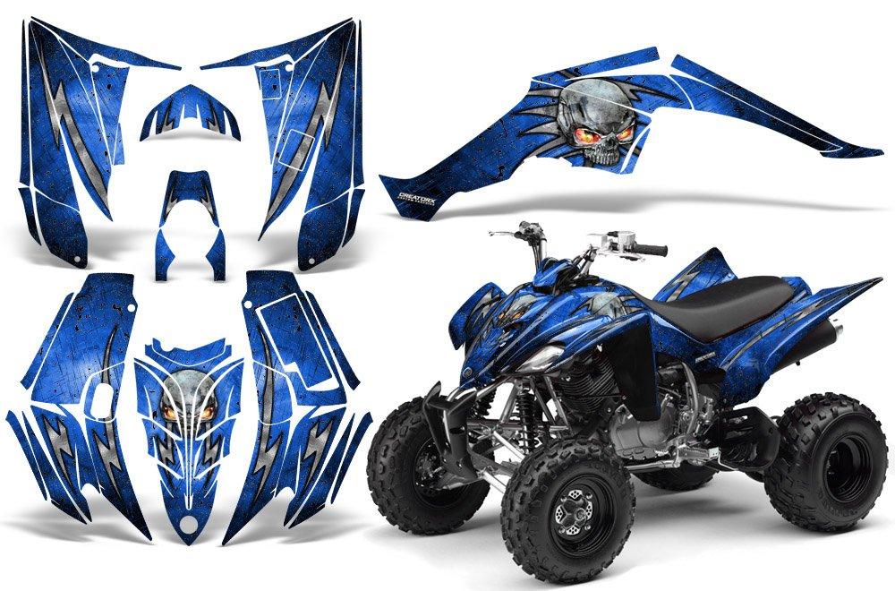 CreatorX Yamaha Raptor 350 Graphics Skulls Bolts Metal Black Blue