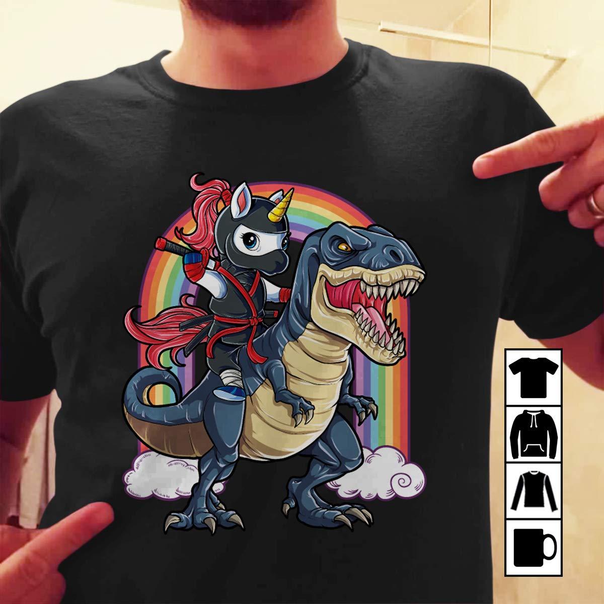 Amazon.com: Dinosaurs Unicorn Ninja Riding Dinosaur T Shirt ...