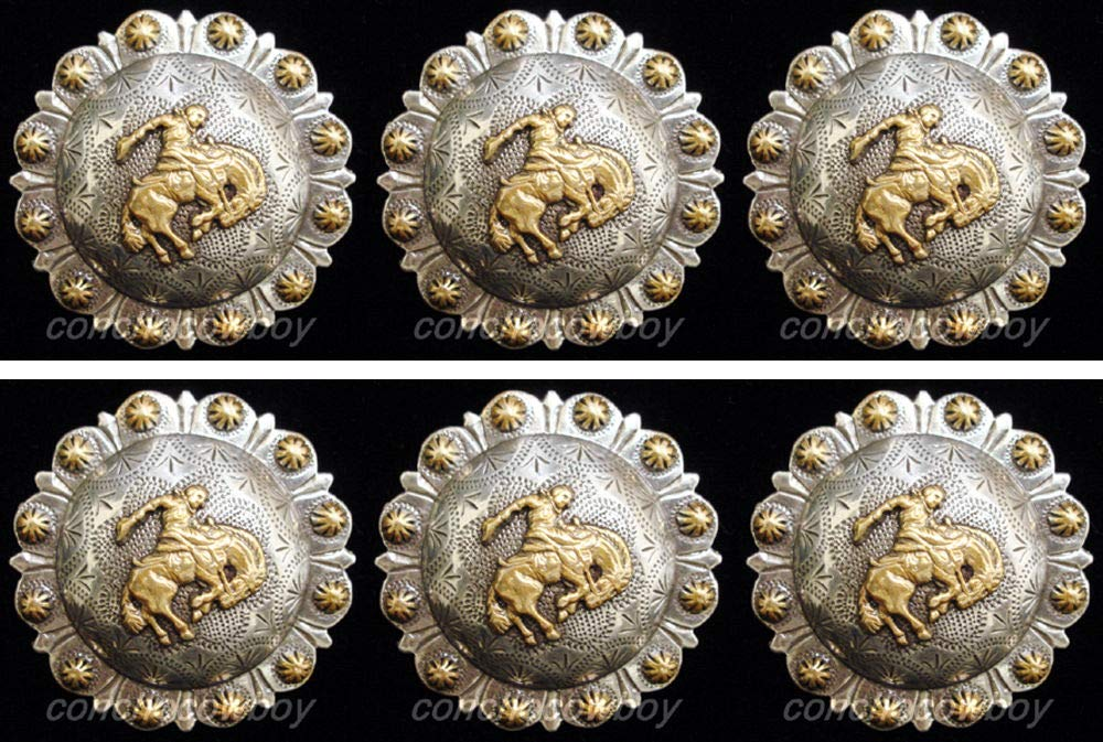 Conchos for Clothes Set of 6 Western Horse TACK Gold Bronc Rider Berry Saddle Conchos 1'' Screw Back