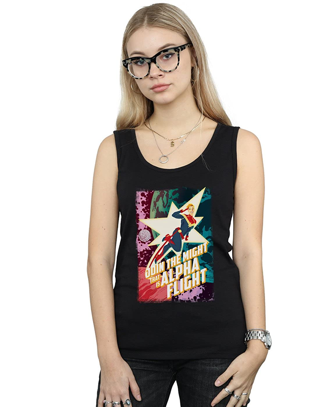 27d2a2b639b5a3 Amazon.com  Marvel Women s Captain Marvel Alpha Flight Tank Top Black  Medium  Clothing