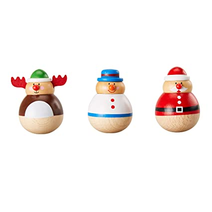 Christmas Roly Poly Toy 3 Pack Wooden Tumbler Doll Figurines Holiday Doll Decoration Desk Top Table Office Home Snowman Reindeer Santa Design