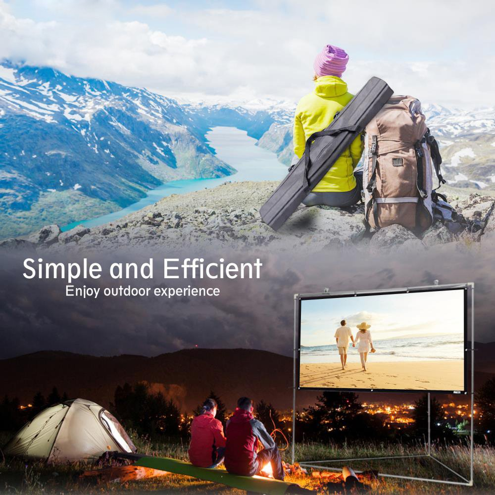 Pyle 100'' Outdoor Portable Matt White Theater TV Projector Screen w/ Triangle Stand - 100 inch, 16:9, 1.15 Gain Full HD Projection for Movie / Cinema / Video / Film Showing outside Home - PRJTPOTS101