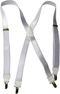 """product image for Holdup Brand X-back 1"""" wide Satin Finish White Suspenders with No-slip Silver Clips"""