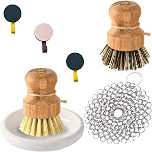 S & C Kitchen - Bamboo Dish Brush Bundle - Scrub Brush for Dishes (1 Palm & 1 Sisal), Ceramic Dish/Holder, 4 by 4-inch Stainless Steel Chainmail - 3 Hooks Included - Cleaning Brushes Bundle