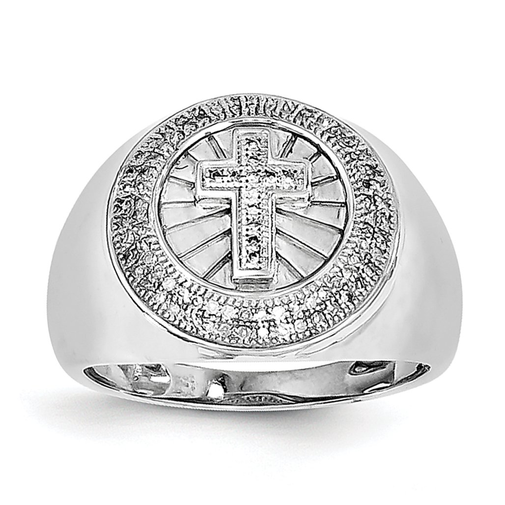 ICE CARATS 925 Sterling Silver Diamond Cross Religious Mens Band Ring All Size 9.00 Man Fine Jewelry Dad Mens Gift Set