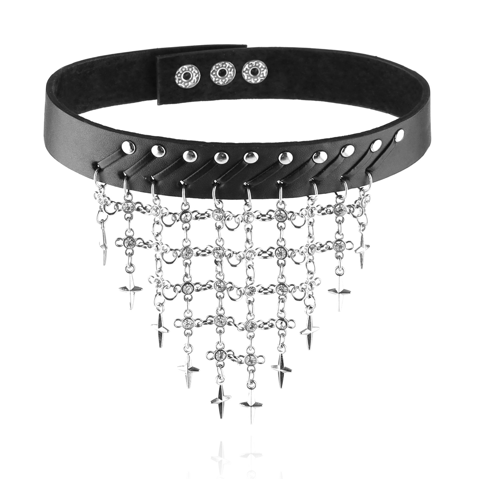 HZMAN Fashion Women Cool Punk Goth CZ Metal Flash swing Link Leather Collar Choker Necklace (Black)