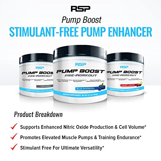 Amazon.com: RSP Pump Boost - Stimulant Free Pre Workout & Nitric Oxide Booster, N.O. Boost for Enhanced Pumps, Energy Boost, and Improved Training Endurance ...
