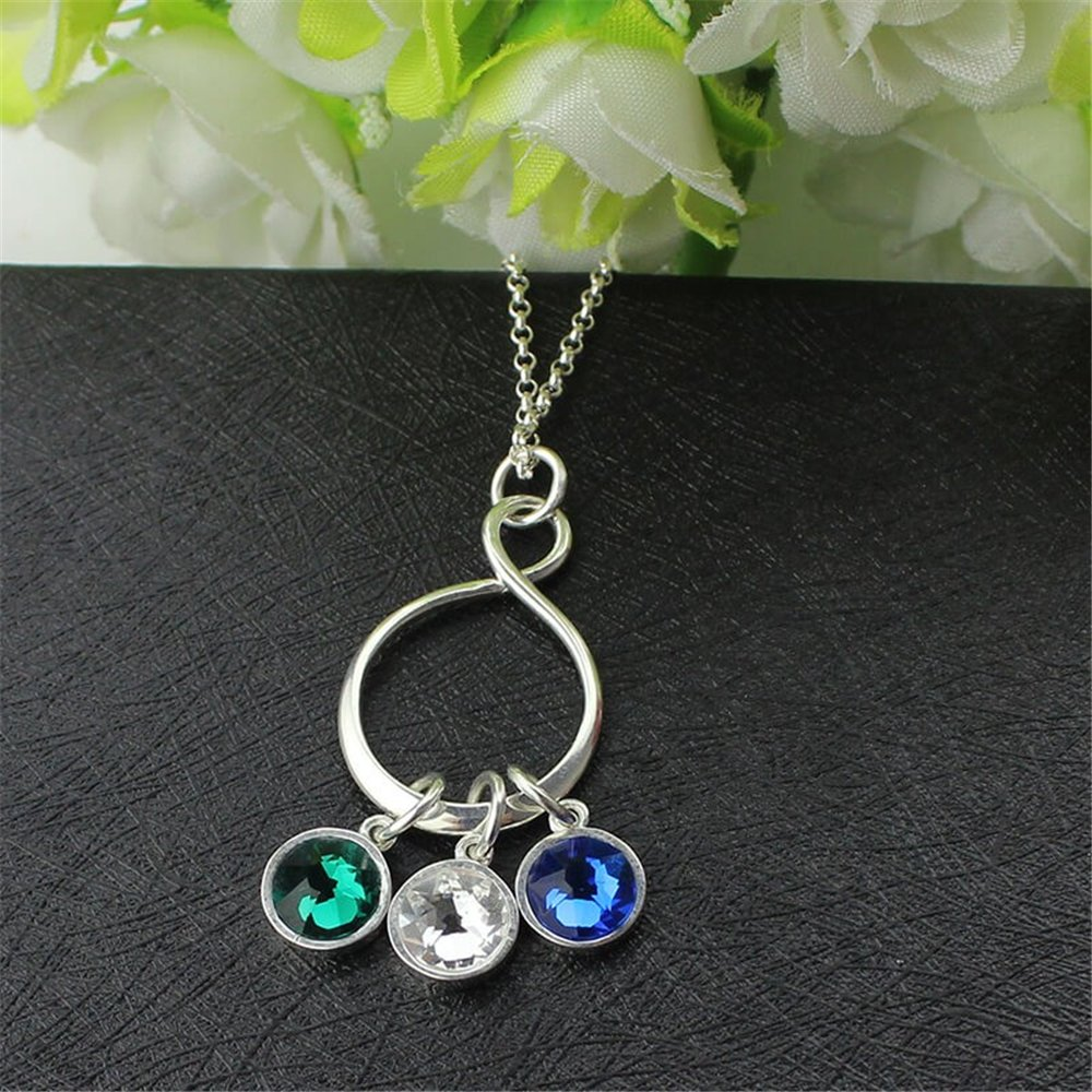 Personalized Infinity Jewelry Infinity Birthstone Necklace Sterling Silver Birthstone Necklace Eternal Infinity Symbol Charm