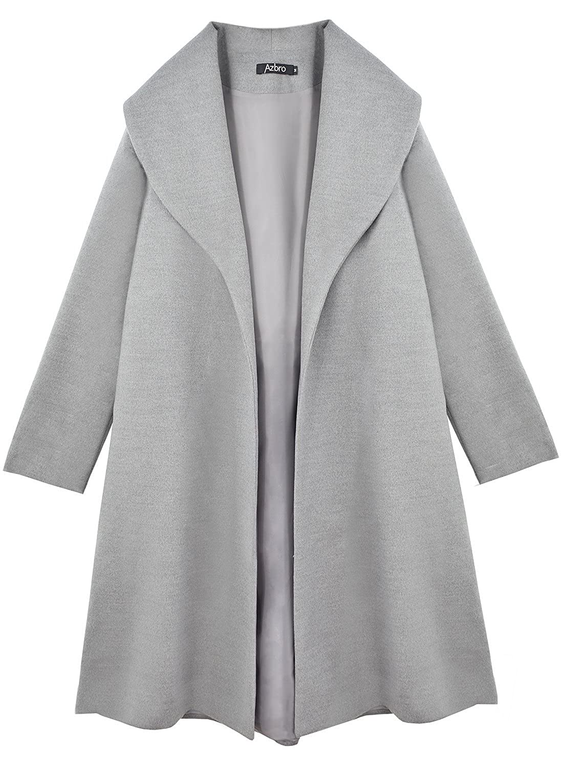 Azbro Women's Elegant Turn-Down Collar Open Front Long Coat