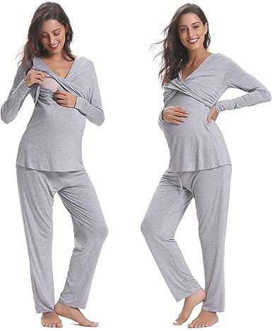 Hawiton Pijama de Lactancia Invierno Ropa Premamá Embarazadas ...