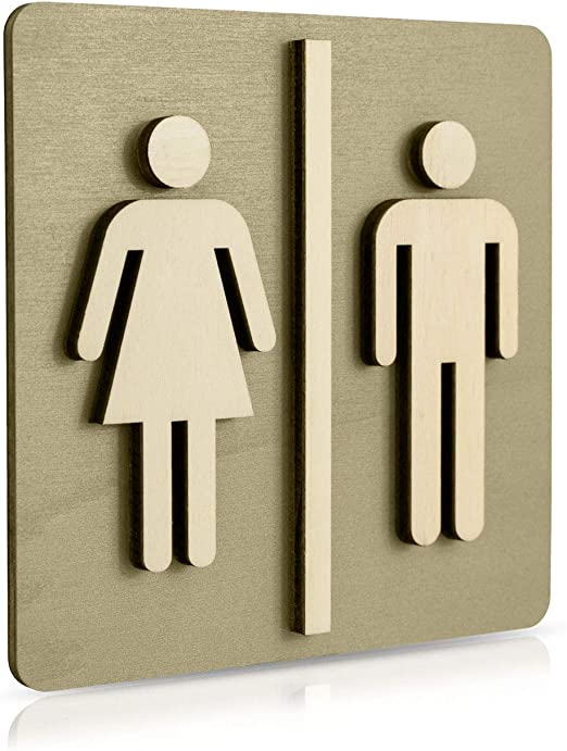 Bois 14 x 14 cm Individuell Manschin Laserdesign Plaque toilettes h//f en bois