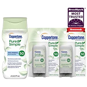 Coppertone Pure & Simple SPF 50 Lotion (6 Ounce) + Two Pure & Simple SPF 50 Stick Sunscreens (2x .49 Ounce), 6.49 Fl Ounce
