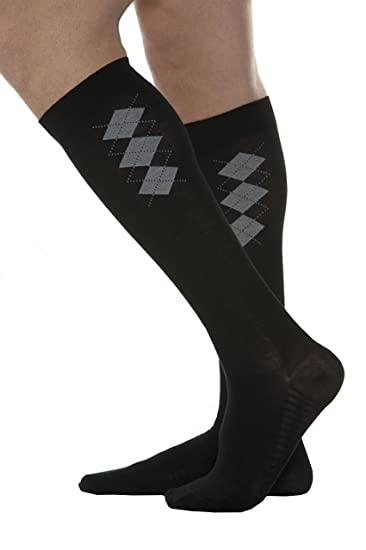 Maxar Mens Fashion Cotton Compression Support Socks, Black, X-Large