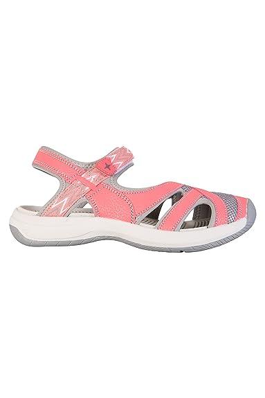 Mountain Warehouse Cynthia Geschlossene Sandalen für Damen - Phylon-Zwischensohle, Leichte Flipflops, Schuhe mit Klettverschluss - Für Spaziergänge, Strand und Pool Koralle 41 EU