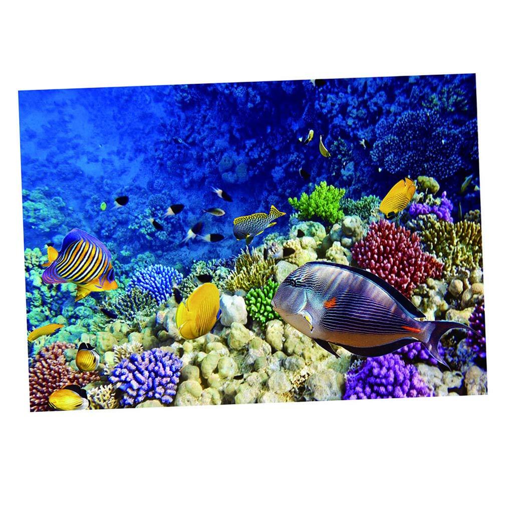 122x61cm Undersea World Fityle 3D Aquarium Background Poster Fish Tank Backdrop Static Cling Wallpaper Sticker