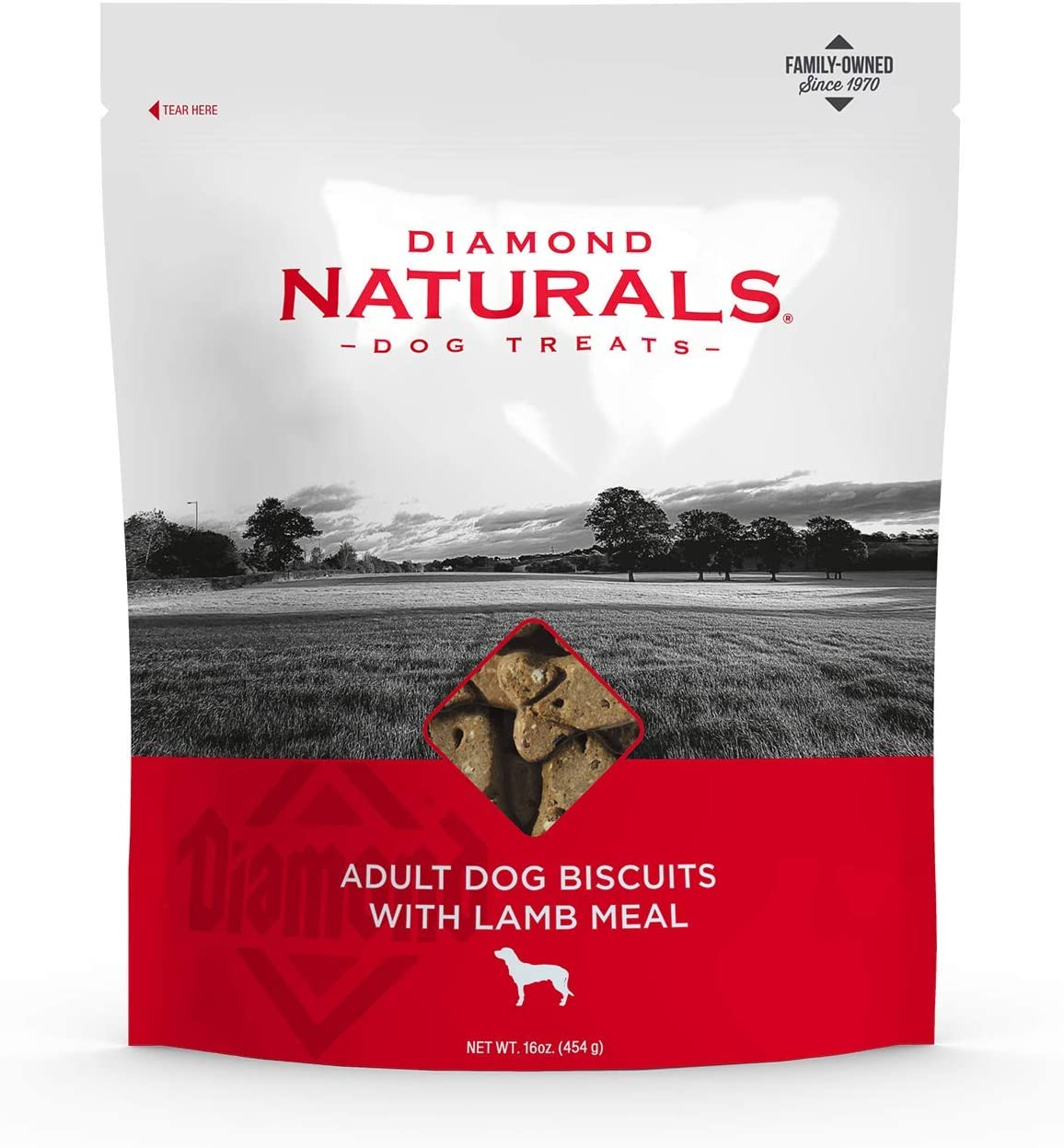 Diamond Naturals Adult Dog Biscuit Treats Are Made from Lamb Protein, Taste Great and Helps Keep Teeth Clean 16oz