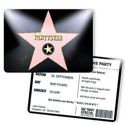 Tarjetas De Invitación Para Cumpleaños Hollywood Star