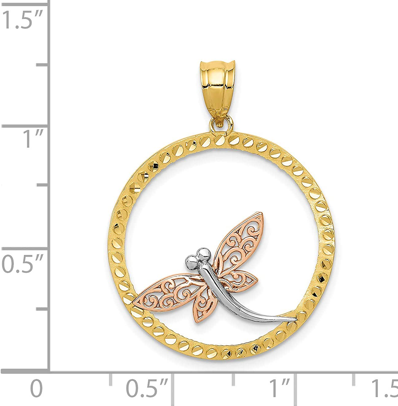 14K Yellow Rose and Rhodium Dragonfly Pendant