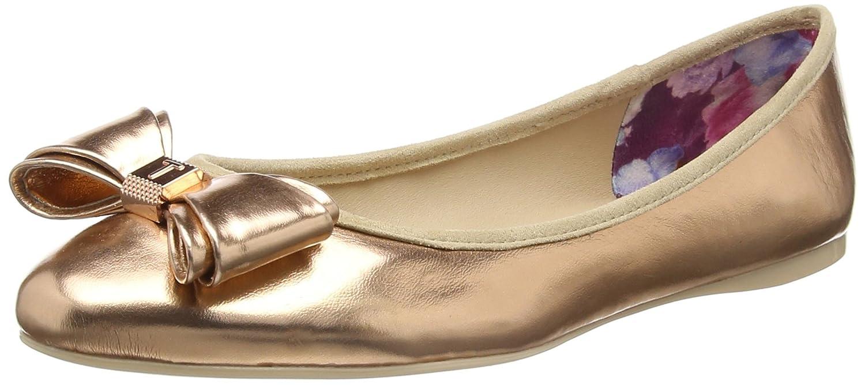 Ted Baker Women's Immet Leather Slip on Flat Rose Gold Metallic