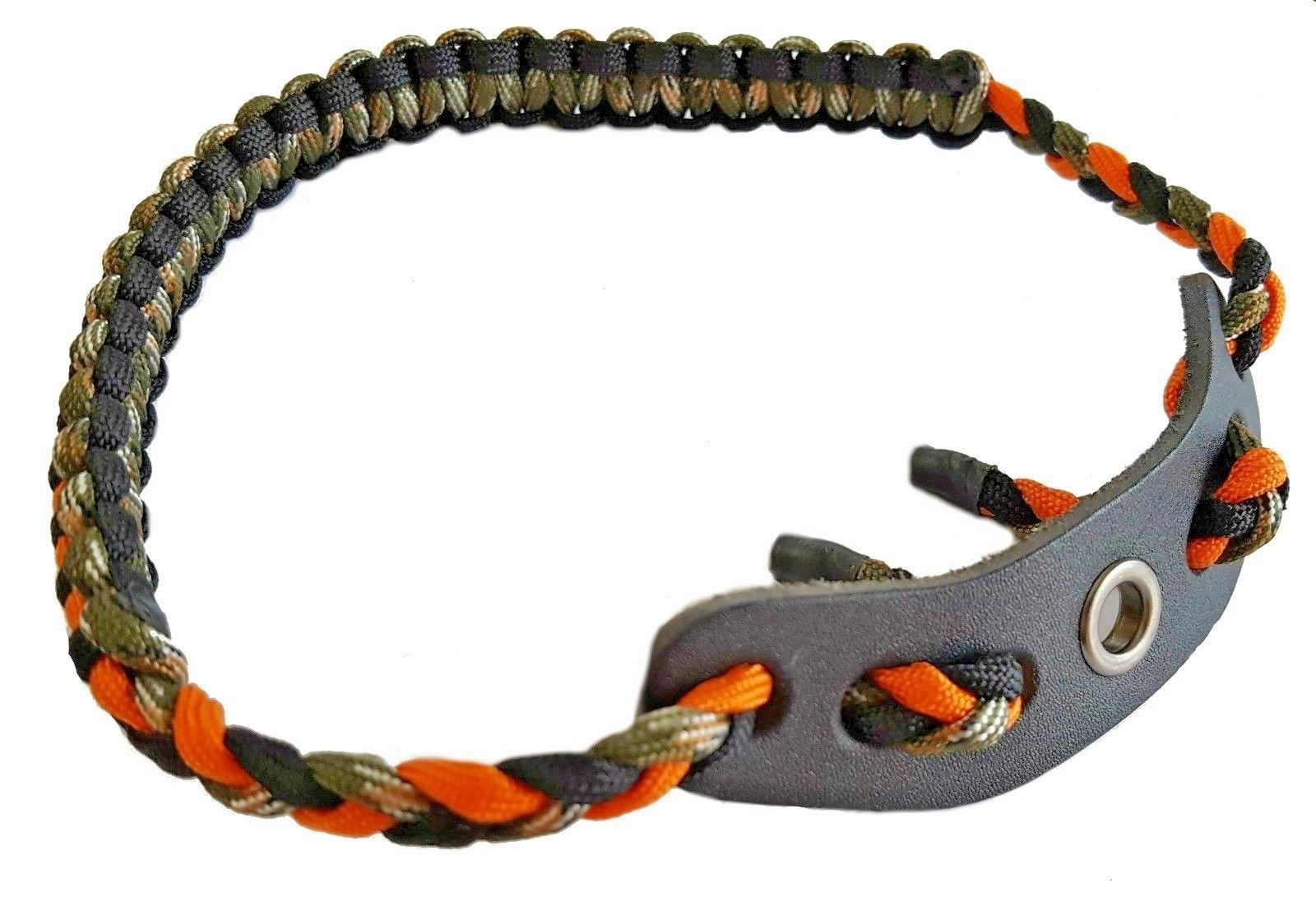 Fibrus Bow Wrist Sling 550 Paracord - Survival Hunting Shooting - Durable Leather with Grommet | Black | Camo | Orange