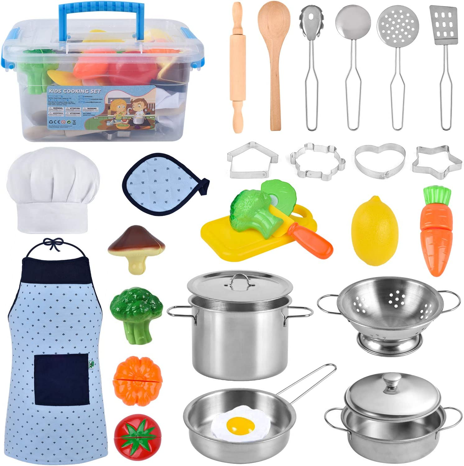 COSILY Kitchen Pretend Play Toys, Kids Cooking and Baking Set with Stainless Steel Cookware Pots and Pans Set, Cooking Utensils, Apron & Chef Hat, Cupcake Moulds, Cutting Vegetables for Boys and Girls