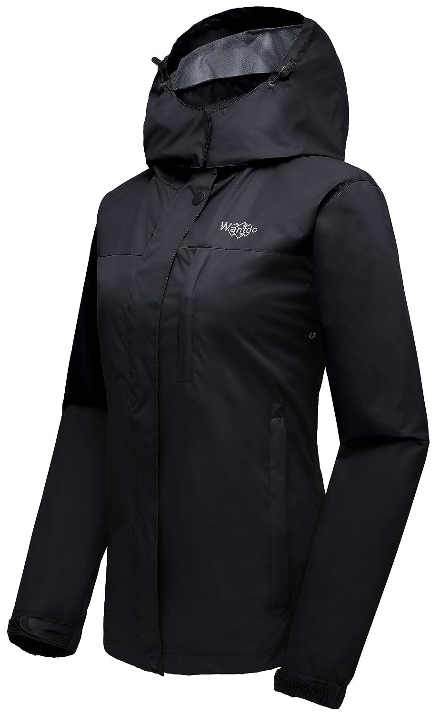 Wantdo Womens Windproof Rain Jacket Breathable Hooded Coat Hiking Windbreaker