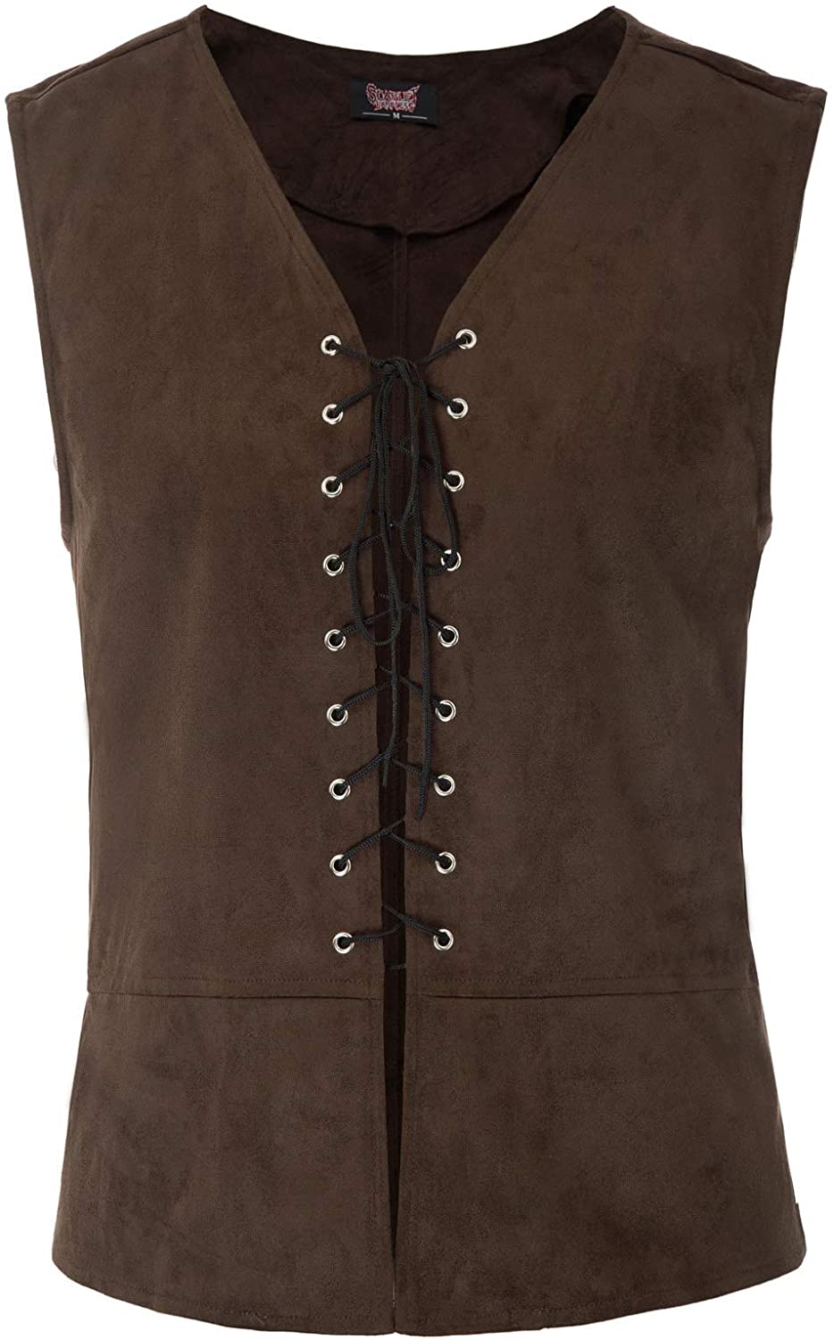 SCARLET DARKNESS Mens Victorian Steampunk Waistcoat Pirate Medieval Vest Tops Color-1 L